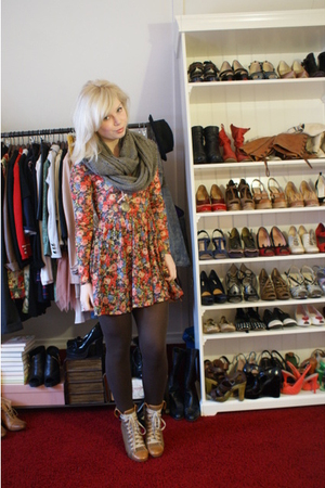 orange Topshop dress - brown tights - brown Chloe boots