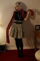 Fornarina shirt - gift scarf - vintage skirt - H&M tights - Christian Louboutin