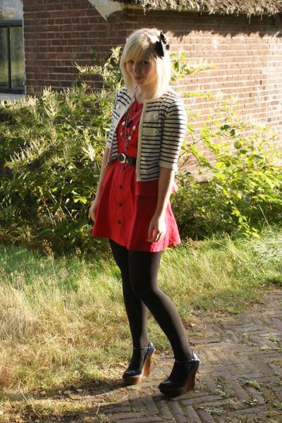 red Dahlia dress - blue wooden wedges Stella McCartney shoes