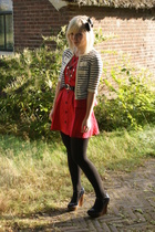 red Dahlia dress - blue wooden wedges Stella McCartney shoes