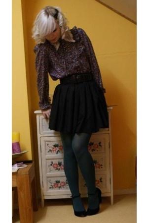 vintage blouse - selfmade skirt - vintage belt - SIX accessories - Steps tights