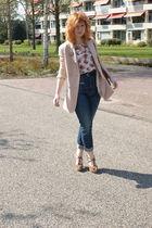 pink Vila blazer - beige Topshop top - beige Dahlia vest - blue Miss Sixty jeans