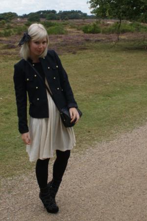 H& jacket - vintage dress - vintage accessories - Miu Miu boots