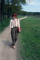 beige H&M jacket - beige Topshop top - green Zara pants - brown Marc by Marc Jac