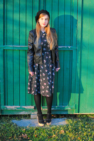 faux leather Tulle jacket - shoes - floral print vintage dress