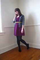 pink Old Navy dress - gray Nyandco cardigan - gold vintage belt - black Mossimo