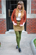dark khaki mini Ralph Lauren skirt - black lace up oxfords Dolce Vita shoes