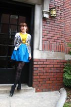 gold Forever21 t-shirt - blue Kimichi Blue skirt - white Old Navy cardigan - bla
