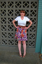 purple George skirt - brown Nine West shoes - white merona shirt - brown H&M bel