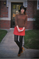 black felt vintage hat - light brown vintage sweater - coral vintage skirt