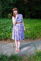 purple vintage dress - brown Report shoes - brown vintage belt