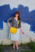 black Keds shoes - gold liz claiborne purse - blue delias dress - gray Nyandco c