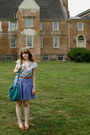 Blue-h-m-skirt-blue-h-m-shirt-brown-vintage-belt-brown-nicole-shoes-blue