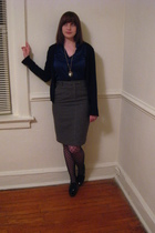black Mossimo cardigan - gray H&M skirt - blue Mossimo blouse - black Forever21