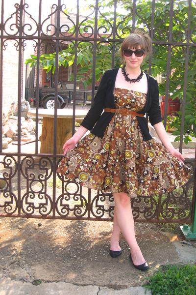 brown derek heart dress - black Kimichi Blue shoes - black Mossimo cardigan - bl