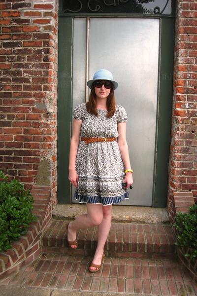 blue  dress - brown Nicole shoes - brown vintage belt - blue BDG hat - yellow vi