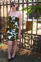 green NYandCo dress - black Kimichi Blue shoes - brown fred flare purse - white