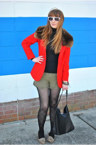 red wool and fur vintage coat - black turtle neck vintage sweater