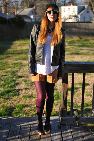 purple tights - black moto Tulle jacket - white slouchy Zara shirt
