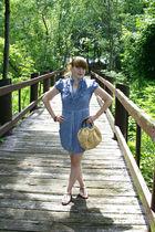 blue  dress - brown  shoes - beige handmade purse - brown vintage bracelet