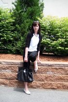 white calvin klein top - black banana republic cardigan - black Express pants -