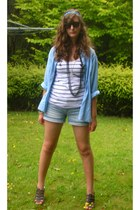 sky blue op-shop shirt - white Jay-Jays top - light blue shorts - heather gray P