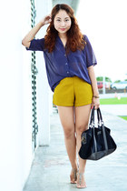 yellow yellow shorts envy shorts - black suede bag MarithéFrançois Girbaud bag