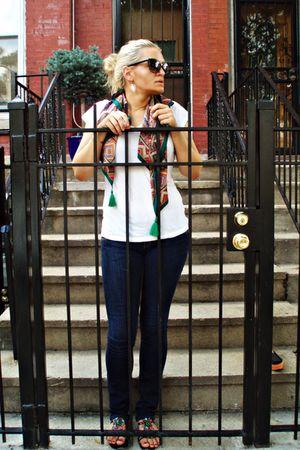 white Forever 21 shirt - blue  jeans - green vintage scarf - black H&M sunglasse