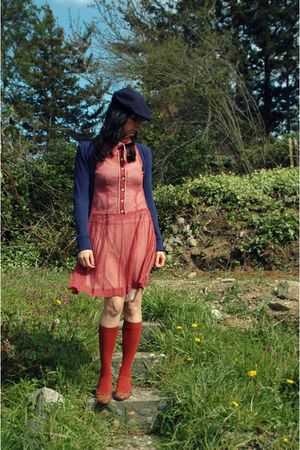 hat - Lux dress - Hi-Lite cardigan - American Apparel socks - Bonnibel shoes