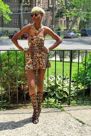 gold floral Topshop romper - black gladiator sandals