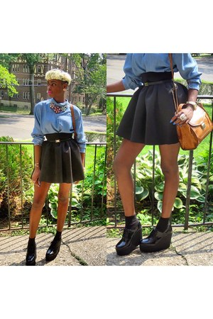 black skater Topshop skirt