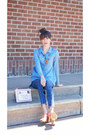 Blue-high-waisted-forever-21-jeans-blue-denim-shirt-gianni-bini-shirt