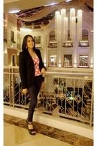 Zara blazer - polka dots Zara shirt - Zara pants - Ohrelle wedges
