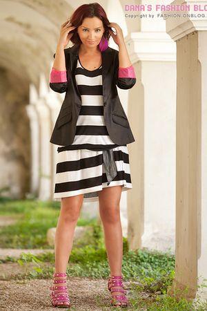 black New Yorker blazer - pink - earrings - pink - shoes - black asos belt