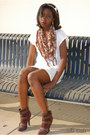 White-rue21-accessories-brown-lei-scarf-ivory-lei-dress-dark-brown-charlot