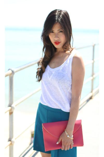teal Zara shorts - envelope Sportsgirl bag - chartreuse Zara sandals