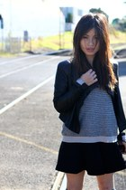leather Husk jacket - striped Country Road sweater - black Zara skirt