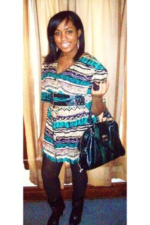 More Jazz shirt - black Charlotte Russe boots - green fashion express purse