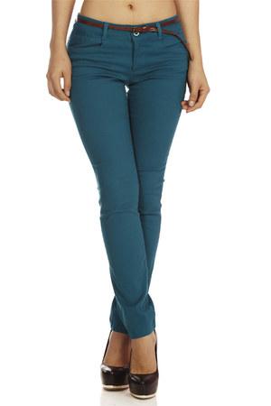 teal belted skinny pants - gold skinny pants - crimson zippers skinny pants
