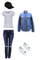 blue Danice Stores shirt - white Danice Stores shirt - navy Danice Stores jeans