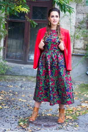 tawny boots - crimson eho dress - red H&M jacket - tawny zaful earrings