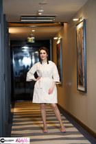 beige georgette coat - black asos heels