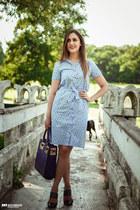 blue zaful bag - periwinkle mallena dress - navy Uterque heels