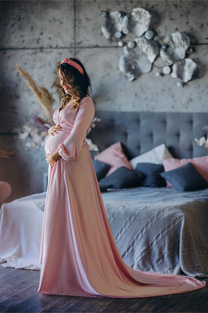 light pink dress - bubble gum hair accessory