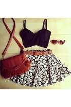 black top - burnt orange bag - tawny sunglasses - white skirt - bronze belt
