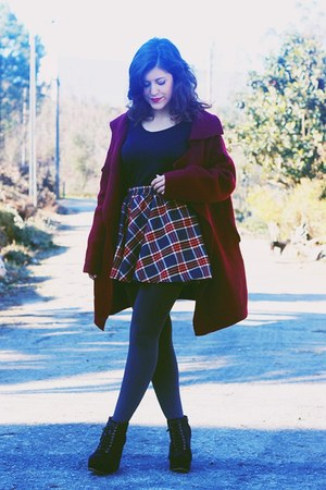 dark gray tartan Sheinside skirt - dark gray Primark tights