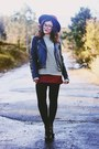 Black-seaside-boots-black-leather-zara-jacket-brick-red-stradivarius-skirt