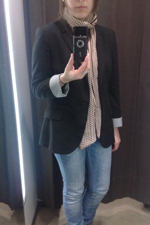 Miss Selfridge scarf - Zara blazer - Zara jeans