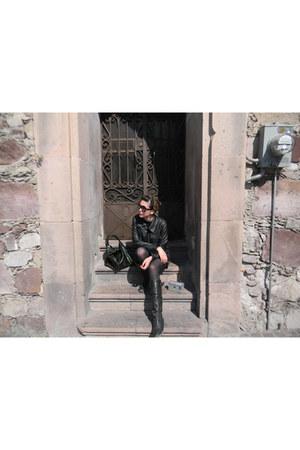 black patent leather Zara boots - black leather jacket jacket
