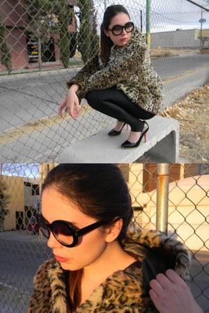 camel leopard print Bershka coat - black leggings - black Zara heels